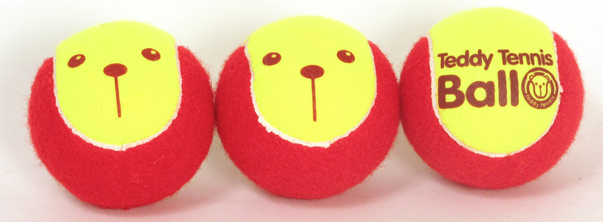 Teddy Tennis Balls, For 2 To 5 Year Olds, Set Of Three
